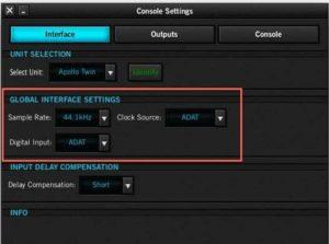 Apollo Console Settings UA ADAT Universal audio